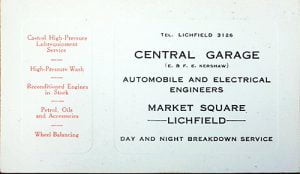 Early Central Garage business card